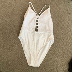 White strappy one piece swimsuit